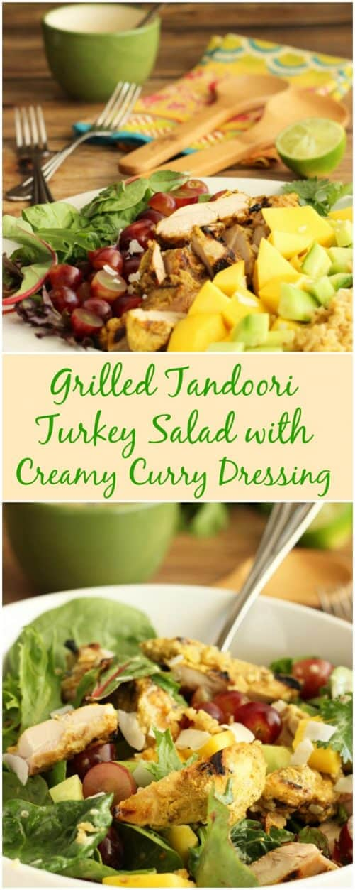 Turkey is not just for the holidays! Try something unexpected on the grill this summer, and turn a cool salad into a quick meal. Grilled Tandoori Turkey Salad with Creamy Curry Dressing|CravingSomethingHealthy