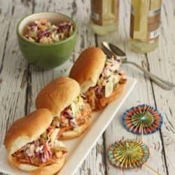 Pulled Turkey Sliders with Chipotle Peach BBQ Sauce and Sweet Creamy Slaw|Craving Something Healthy