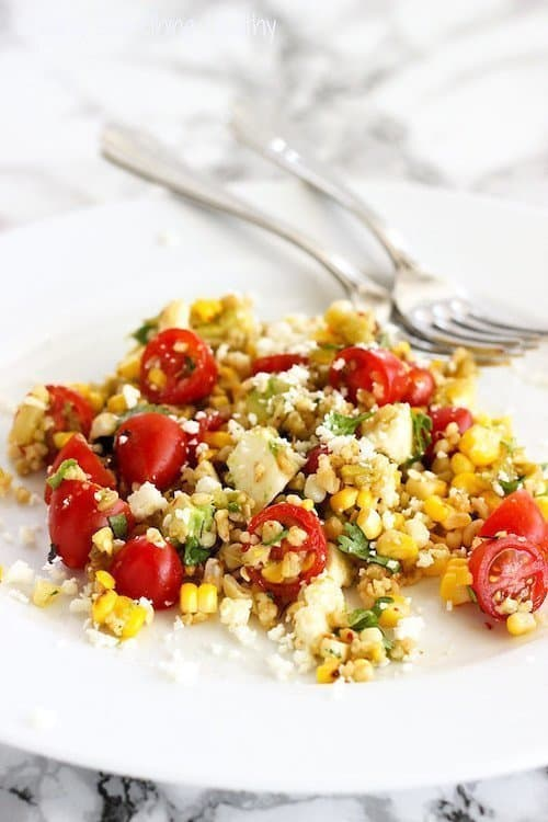 Freekeh-licious Corn and Tomato Salad | Craving Something Healthy