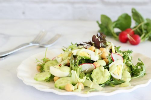 Spring Egg and Chickpea Salad with Creamy Avocado Dressing|Craving Something Healthy