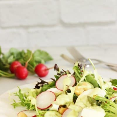Spring Egg and Chickpea Salad with Creamy Avocado Dressing