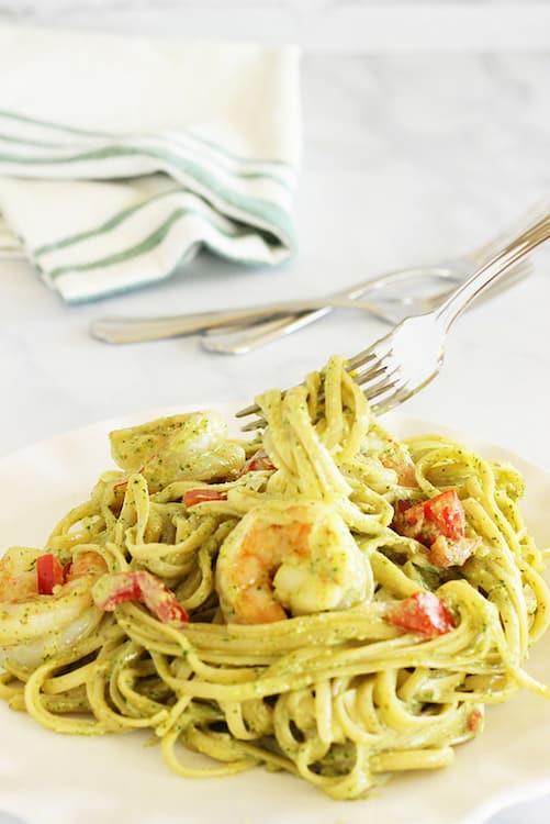 Fettuccine and Shrimp with Arugula Pesto Cream Sauce|Craving Something Healthy