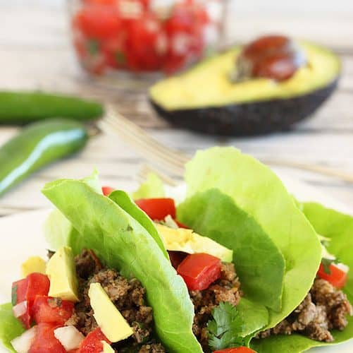 Ground Beef and Mushroom Lettuce-Wrap Tacos