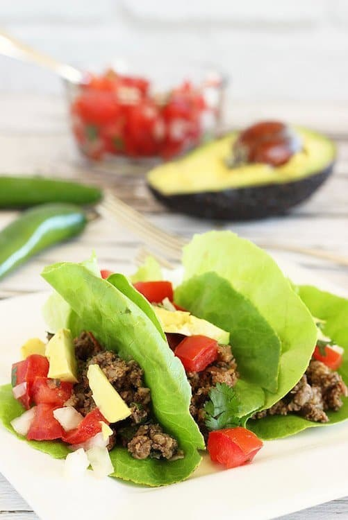 Lean Ground Beef and Mushroom Lettuce-Wrap Tacos|Craving Something Healthy