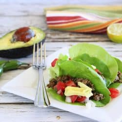 A 50/50 blend of lean ground beef and mushrooms is the BEST secret to making your lean ground beef even leaner, tastier, super tender, and more nutritious. Try it in these lightened up Lean Ground Beef and Mushroom Lettuce Tacos|Craving Something Healthy