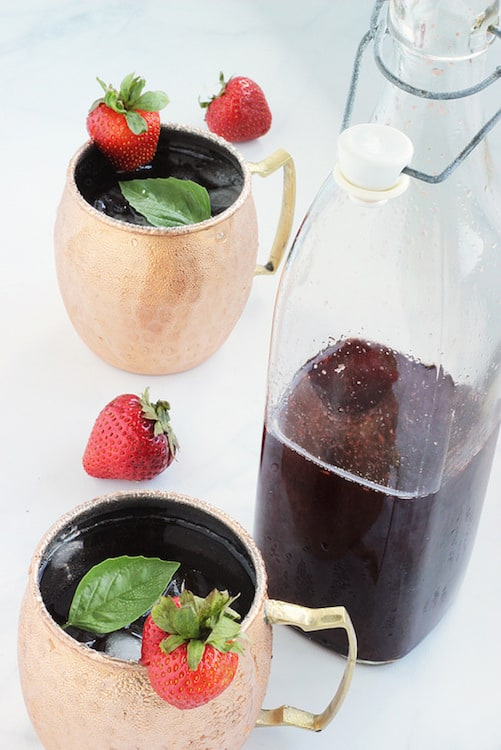 Strawberry Basil Shrub Syrup for Cocktails or Mocktails | Craving Something Healthy