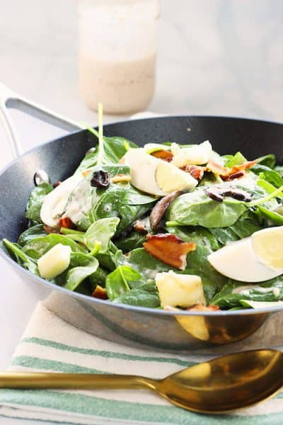 Warm and Loaded Spinach Salad | Craving Something Healthy