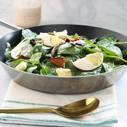 Warm and Loaded Spinach Salad   Craving Something Healthy