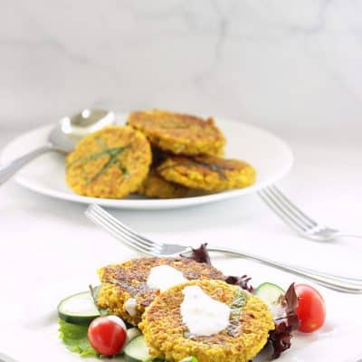 Spicy Lentil Cauliflower Falafel Cakes