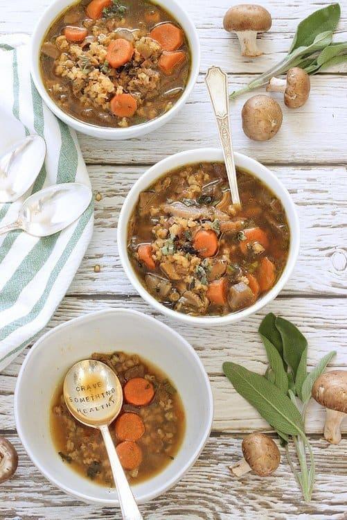 Wild Mushroom and Barley Soup | Craving Something Healthy