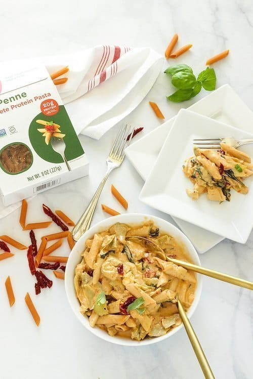 One Pan Penne with Artichokes Spinach and Creamy Sun-Dried Tomato Sauce   Craving Something Healthy