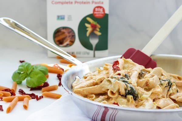 Penne with Artichokes Spinach and Creamy Sun-Dried Tomato Sauce | Craving Something Healthy