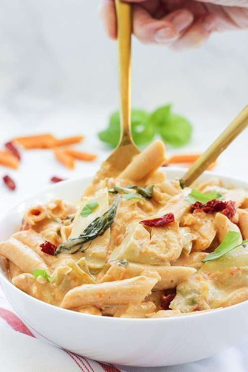 Penne with Artichokes Spinach and Creamy Sun-Dried Tomato Sauce | Craving Something Healthy #pasta #Lowcarbpasta #ModernTableMeals #onepanmeals #easymeals #dinner #healthypasta #30minutemeals