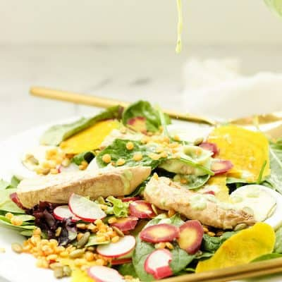 Wild Mackerel Good Mood Salad with Creamy Kefir-Herb Dressing
