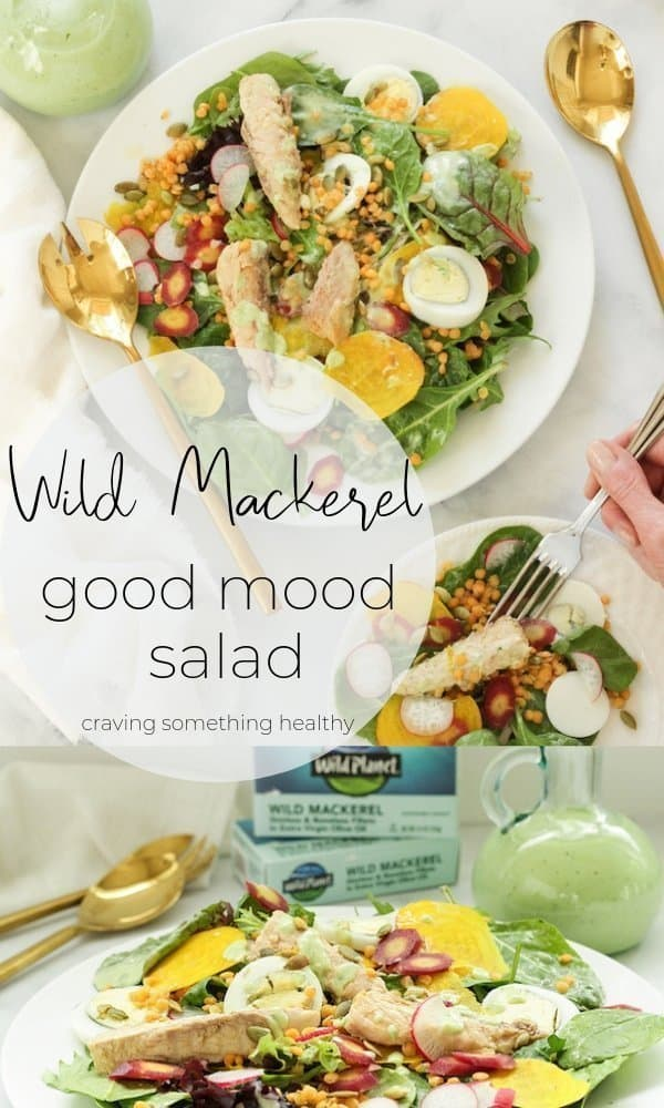 Wild Mackerel Good Mood Salad with Creamy Kefir Herb Dressing |Craving Something Healthy