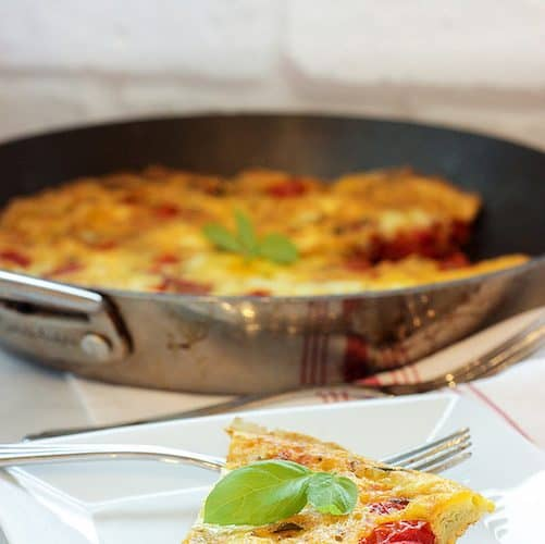 Roasted Tomato Frittata with Goat Cheese and Herbs   Craving Something Healthy