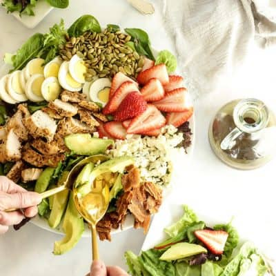 Skinny Cobb salad with balsamic honey mustard vinaigrette