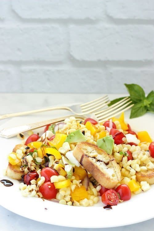 Summer Grilled Corn and Tomato Panzanella Salad| Craving Something Healthy