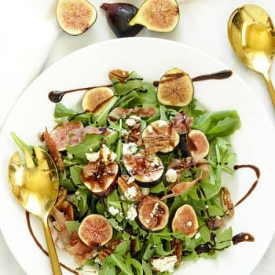 Fig & Arugula Salad with Blue cheese & Prosciutto