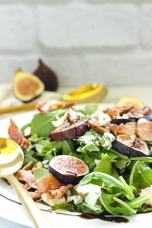 Fig & Arugula Salad with Blue Cheese & Prosciutto | Craving Something Healthy