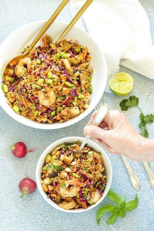 Rainbow Asian Rice Salad with shrimp