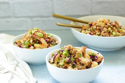 Rainbow Asian Rice Salad with Shrimp | Craving Something Healthy