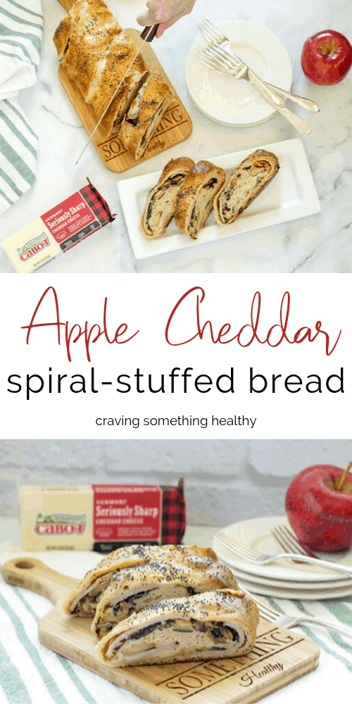 Apple Cheddar Spiral Stuffed Bread #ad #CabotCheese #stuffedbread #partyfood #easydinner #healthy #tailgaterecipes #cheese #cheddar #apples #ham #makeaheadrecipes