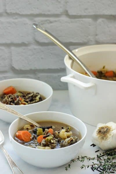 Roasted Vegetable and Wild Rice Soup