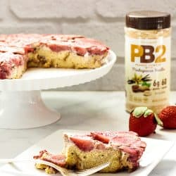 A plate of Strawberry Peanut Butter Baked French Toast made with PB2 powdered peanut butter.
