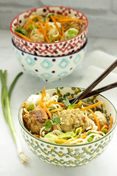Ramen with Sesame Ginger Chicken Meatballs | Craving Something Healthy