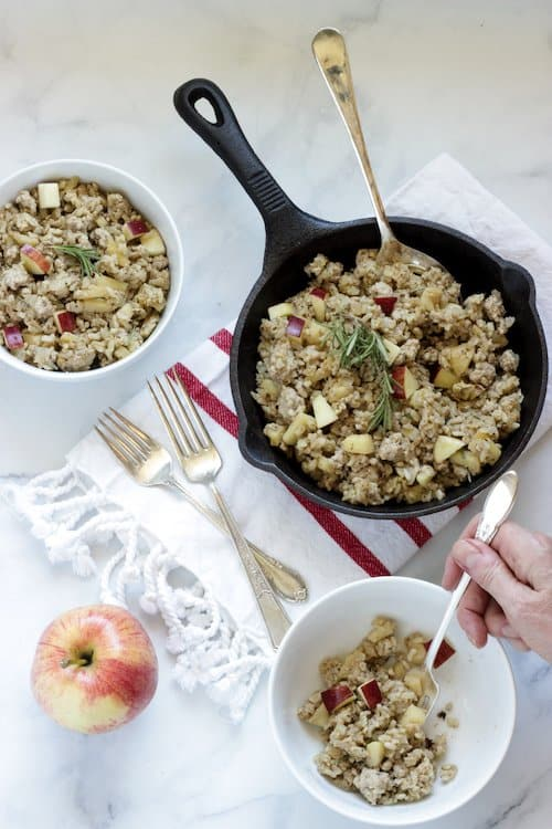 A bowl of Breakfast style pork fried rice made with apples and sausage flavored spices