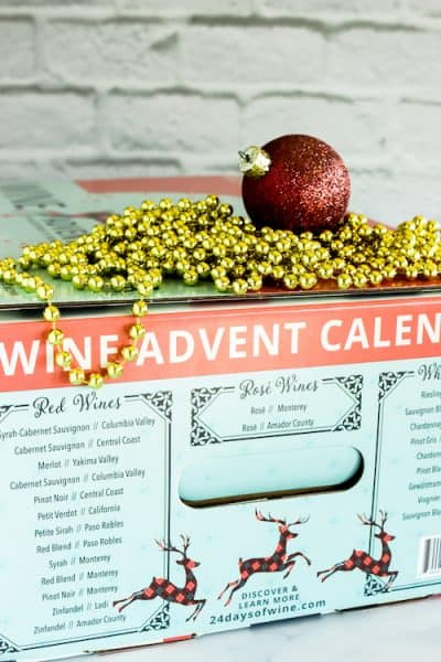 Wine Advent Calendar box with list of wines