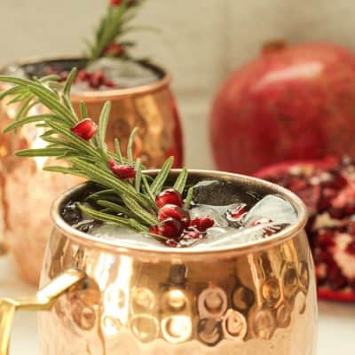 Holiday Pomegranate Mule Cocktail