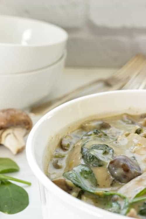 Creamy Braised Chicken With Mushrooms and Spinach