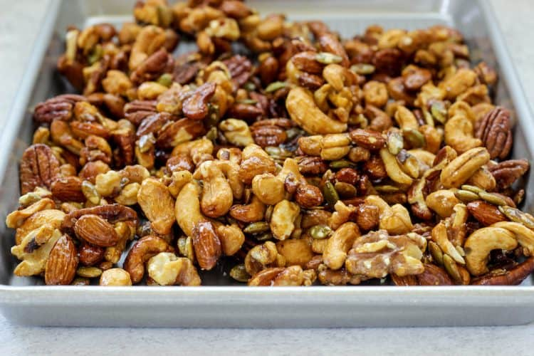 sheet pan of mixed nut clusters